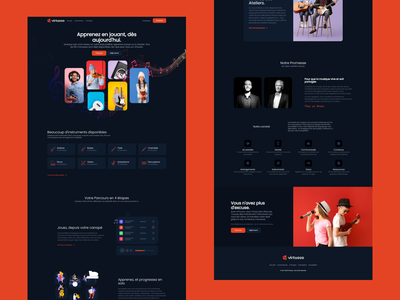 Virtuozo Landing Page music learning strapi vuejs branding illustration clean ui design bulma modern