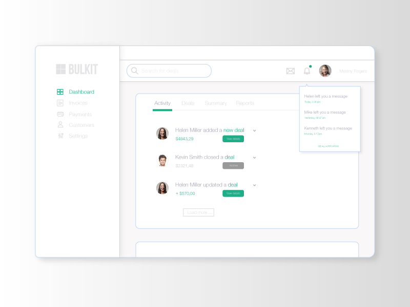 Invoicing app app ui deals invoicing dashboard