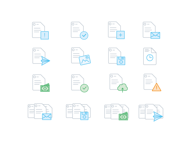 Accounting app icons invoices documents accounting app icons