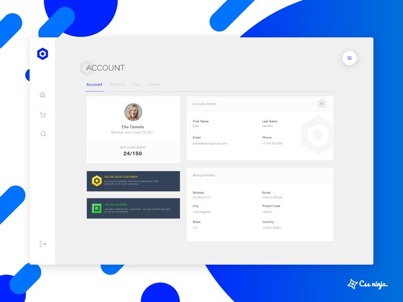 Helios - Account page profile account cssninja helios app dashboard ecommerce