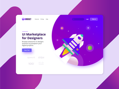 Rocket Landing flat  design colorful design landing pages landing page design rocket landing page