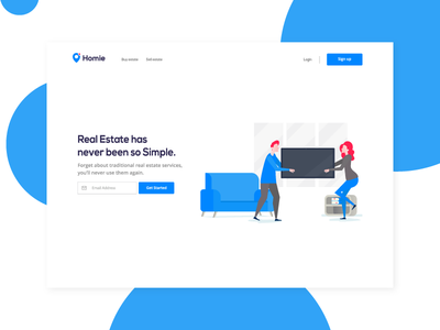 Real Estate Landing design cssninja bulma minimal clean illustrations colorful design real estate branding landing page