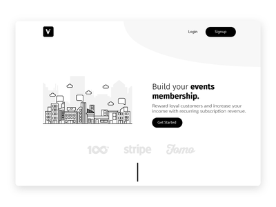 Venuepass - Events membership platform clean illustration app website web modern black  white minimal design membership event