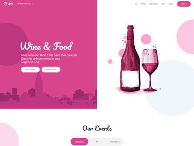 Events Landing Page colorful bulma modern events wine food landing page