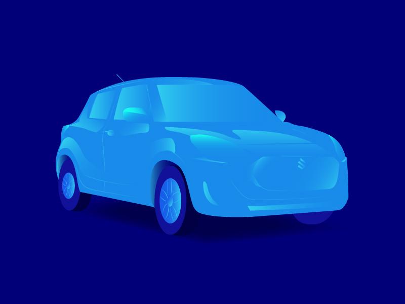 New Swift - Car Illustration car blueshades cargraphicdesign cardesign suzukicar swiftcar carillustration gradient