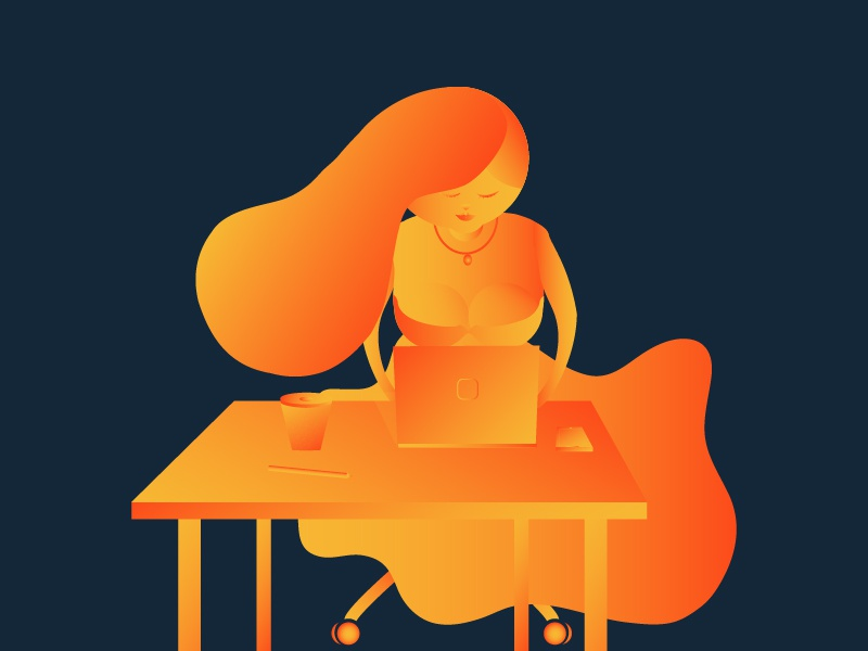 Gradient Girl! girldeisgn creative girldesigner yellow orange officeplace girlillustration girl gradient