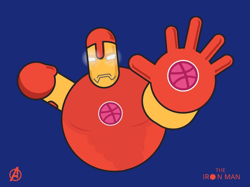 Iron Man! minimal sticker dribbblelogo dribbblesticker basicshapes character ironman marvel design creative illustration
