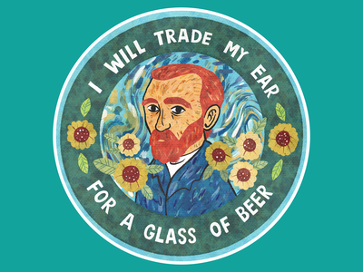 Liquor-Loving Vincent design painter illustration procreate coaster vincent van gogh van gogh