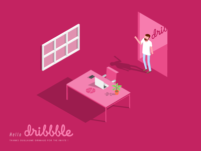 Hello Dribbble isometric vector shot first illustration dribbble hello debuts
