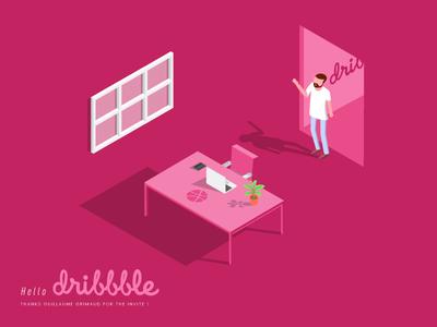 Hello Dribbble isometric vector shot first illustration dribbble hello debuts