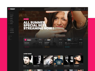 Frisky Redisgn music website ui redesign direction design concept artistique
