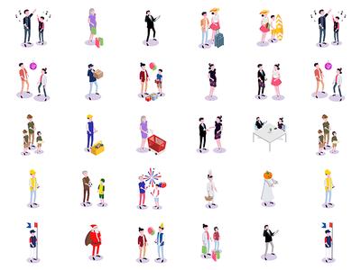 Illustration Marguerite events humain isometrie illustrator web vector illustration