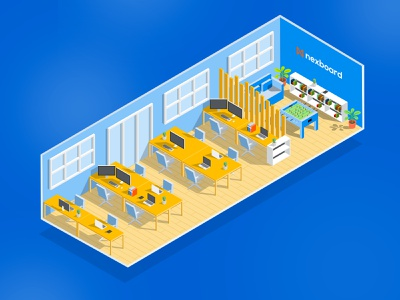 Illustration Isometric color creator board flat design flat office computer buisness direction artistique isometric design isometric illustration illustrator co-working isometric vector logo illustration ui artistique design