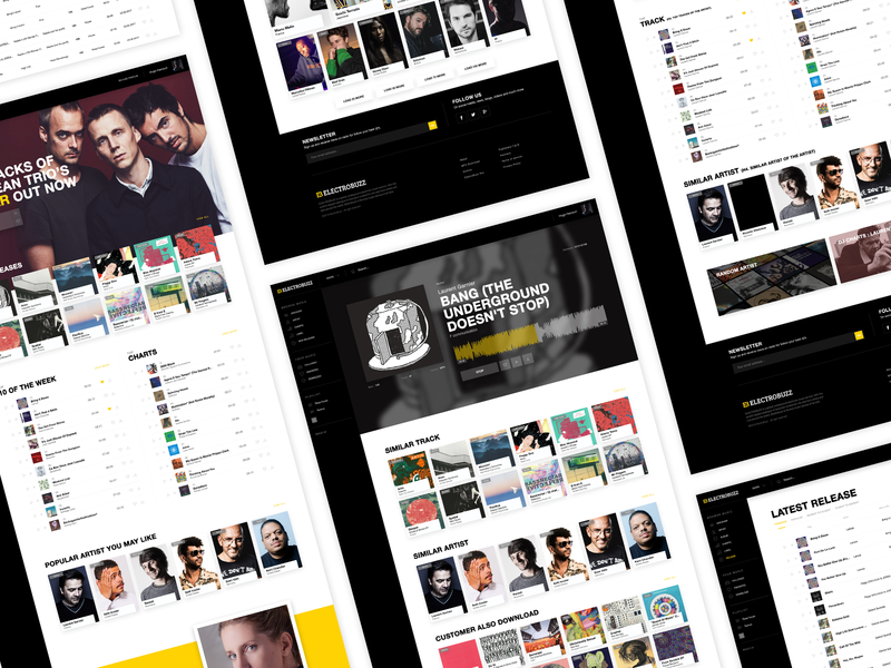 Refont of the website Electrobuzz - Music Platform color mobile ux branding uiux redesign music interface dribbble website web direction concept ui artistique design