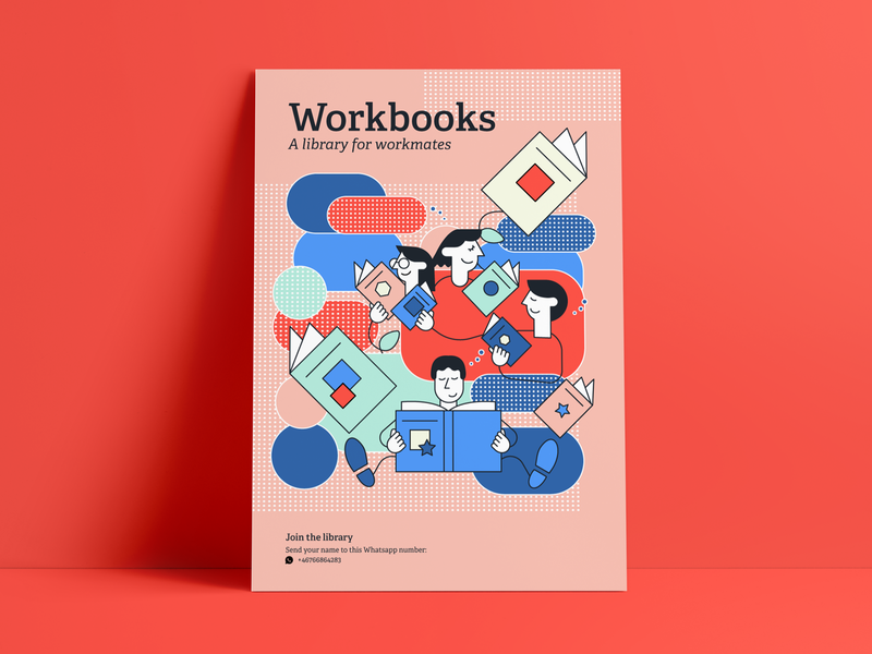 Workbooks — A library for workmates branding community visuals graphicdesign illustration bookshelf workmates workday ux library books design