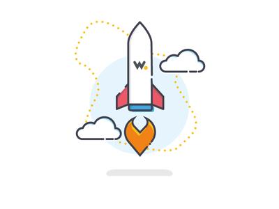 On-boarding Illustration ux vector visuals ui branding culture rocket launch rocket digital wia iot tech linedrawing community graphicdesign design icon illustration