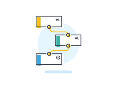 Flows ux digital graphicdesign branding ui wia visuals tech community icon linedrawing illustration design iot wiard dashboards nodes flows
