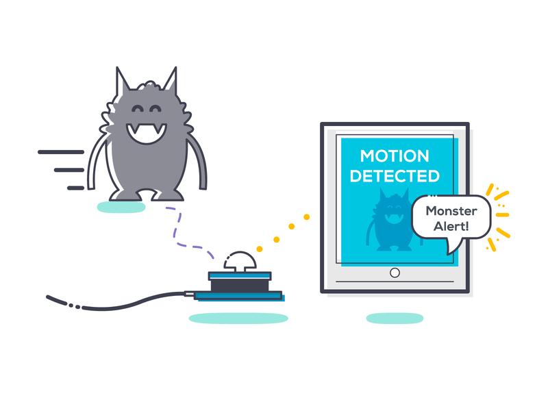 Monster Detector linedrawing detect internetofthings monster sensor motion pir electronics web ui ux branding digital visuals wia tech iot graphicdesign design illustration