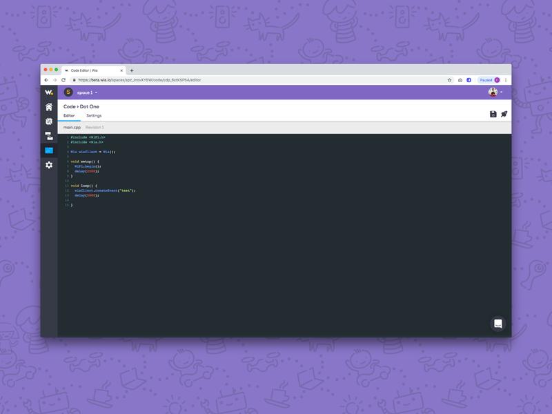 Wia Code Editor dashboard ux visuals design graphicdesign vector ui tech illustration maker builder internetofthings iot software cloud product wia editor blocks code