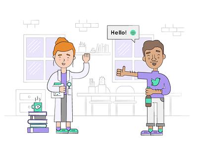 Behaviour science meets social intelligence :) landingpage branding design character illustration