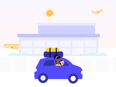 Take a friend to the airport banner flat web app vector graphic gradient ui website graphicdesign icon logo sketch character branding design illustration