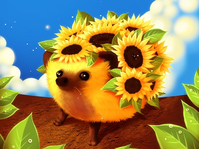 Sunflowerhog smol sunflowerhog digitaldreamcloud flower adorable sunflower hedgehog animal cartoon nature surrealism digitalart cute fantasy illustration