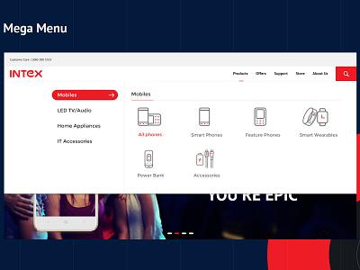 Mega Menu for Intex Website products list multi-purpose menu webdesign ux web menus mega menu ux  ui