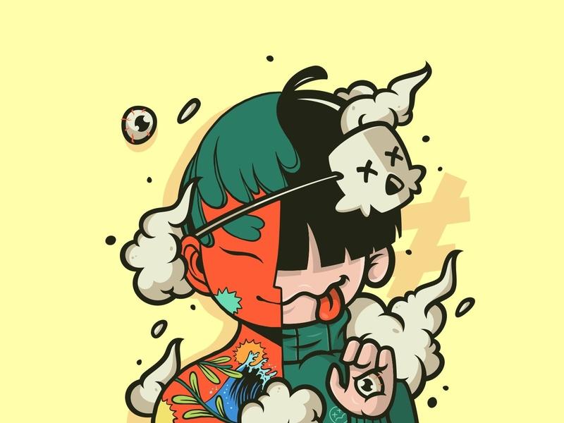 Heyhoo Han collaboration urban mask flip vector character illustration
