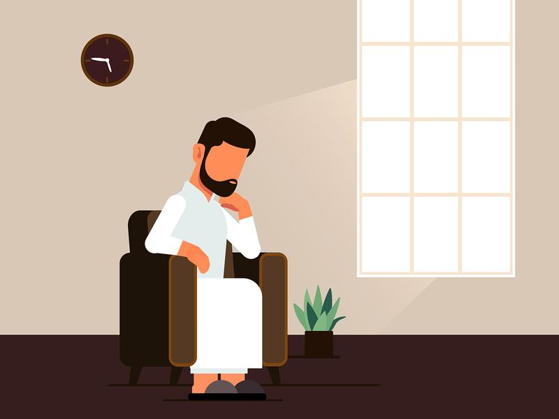 Sad Mood mood sad arabian character illustration