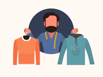 Tailor clothes motion character illustration tailor