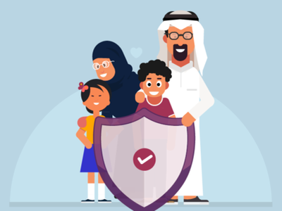 Care for the Family care mother girl boy parent characters father arabian family illustration