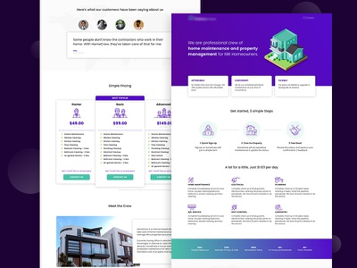 Landing Page for Home Maintenance Company management property maintenance home landing page