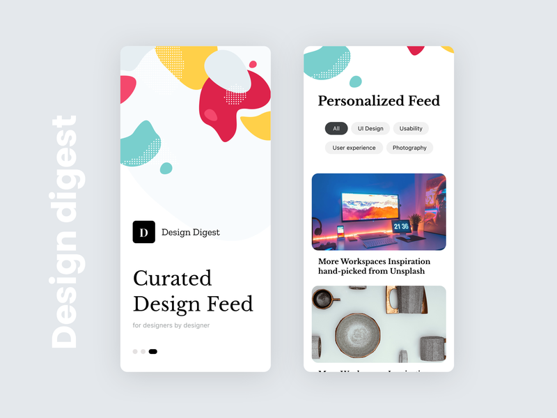 Design Digest - News feed App design curated blog article news peronalized digest feed mobile app