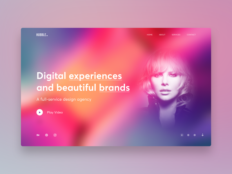 Hubble Creative Agency Concept hero banner hero section landing page marketing agency marketing site blur gradient vibrant multicolor colorful design website creative agency creative design creative