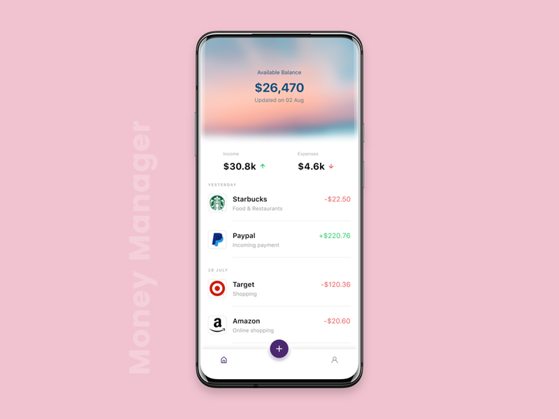Money Manager App personal finance mobile app mobile ui finance expense money manager