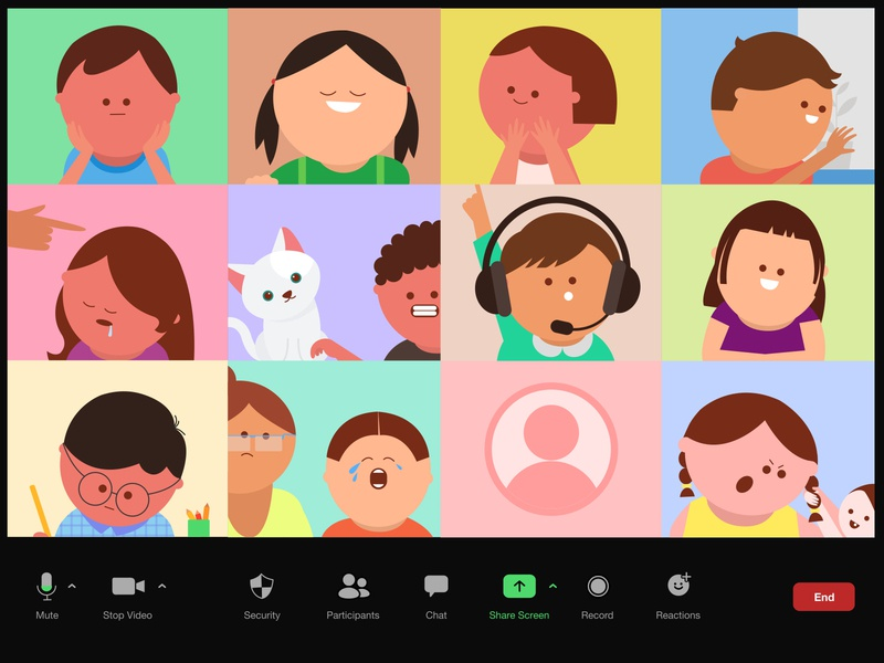 Kids in a Zoom meeting characters design graphic clean flat quarantine ipadpro vectornator classy video video call colourful cute minimal vector illustration kids meeting call zoom