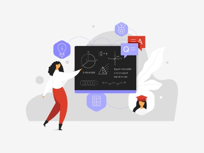 Studysid Illustration - 2 tuition teacher marks lecture college school class coaching book study app concept characters minimal flat clean cute vector design graphic illustration