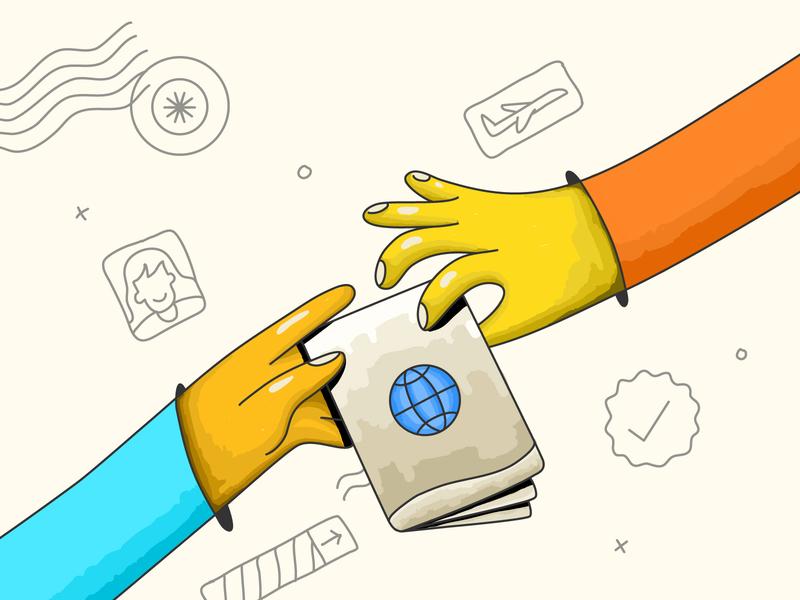 On boarding illustration - 1 vectornator hands hand drawn sketch illustrations stamp visa app airplane flight travel passport onboarding style concept cute vector graphic design illustration