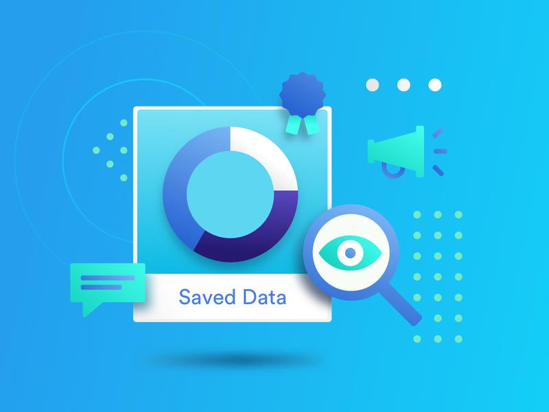 Data Solution Illustration quality client campaign customer speaker freelancer freelance search solution data website concept ui gradient minimal clean vector graphic design illustration