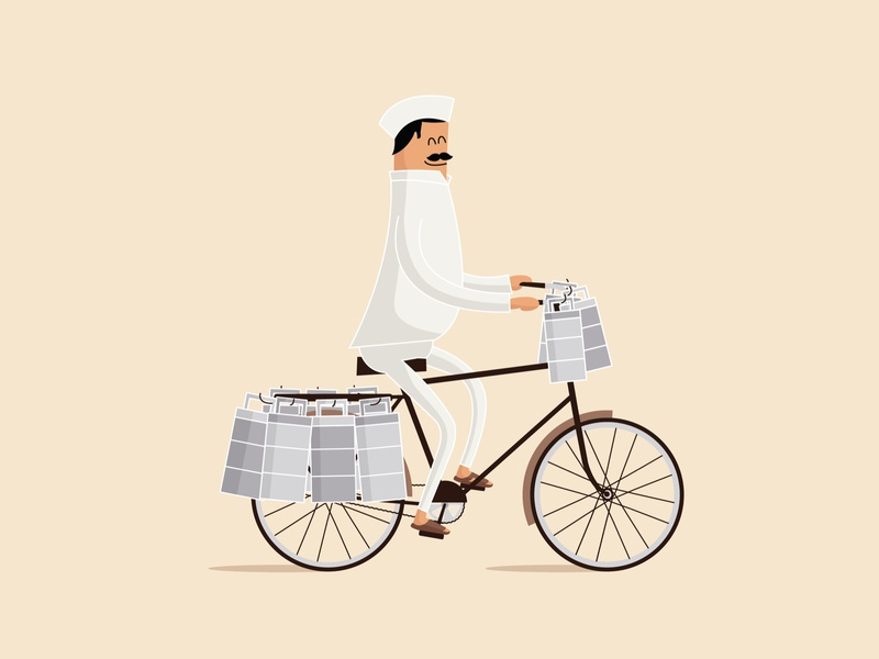 Mumbai Dabbawala character design cycle foodies lunch delivery food lifeline service tiffin dabbawala mumbai minimal flat freelance clean cute vector graphic design illustration