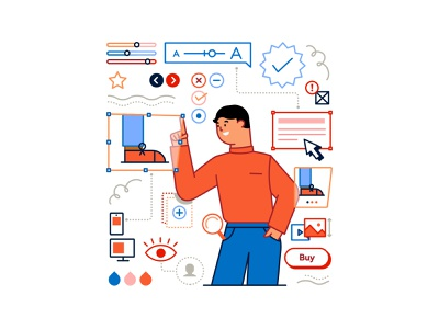 Illustration for No Code Newsletter app website free coding online business build character concept clean flat design vector graphic freelance illustrator illustrator tools webflow email newsletter no code