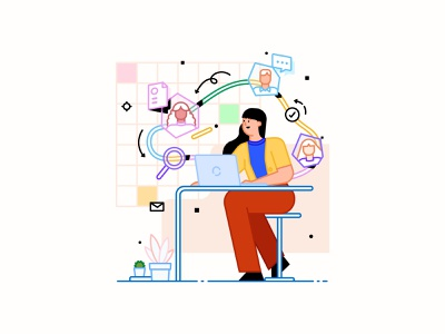 Illustration for HR Weekly Newsletter freelance human resources reviews interview online characters recruitment onboarding hiring hr website concept illustrations minimal clean cute vector graphic design illustration