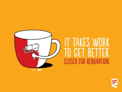 Renovating renovation day coffee cafe closing are we typography illustration