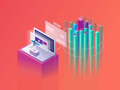Isometric Illustration for Media.net Marketplace
