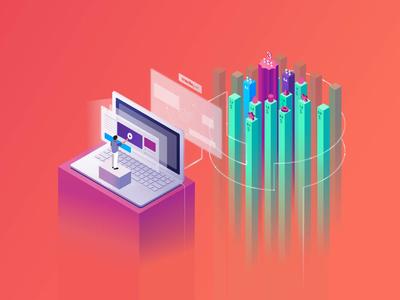 Isometric Illustration for Media.net Marketplace