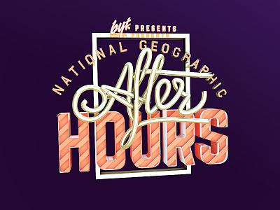 NATGEO AFTER HOURS typography logo branding cinema4d design animation illustration aftereffects