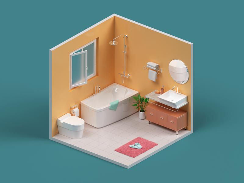 Isometric Bathroom c4d 3d illustration green room bathroom isometry bathtub render