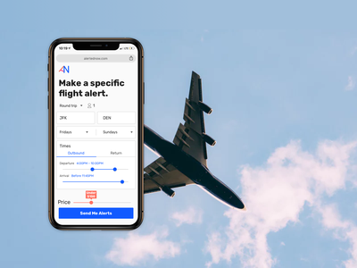 Alerted Now price dropdown slider flight filters