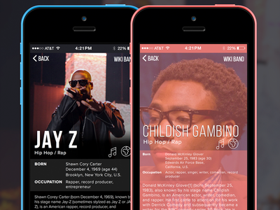 WikiBand Details app ui mobile ios
