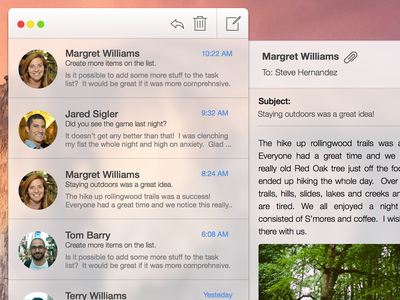 Yosemite Compact Mail app ui mobile os x